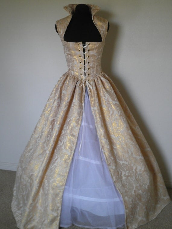 Gold Fantasy Renaissance Over Gown Dress New BROCADe made for YOU