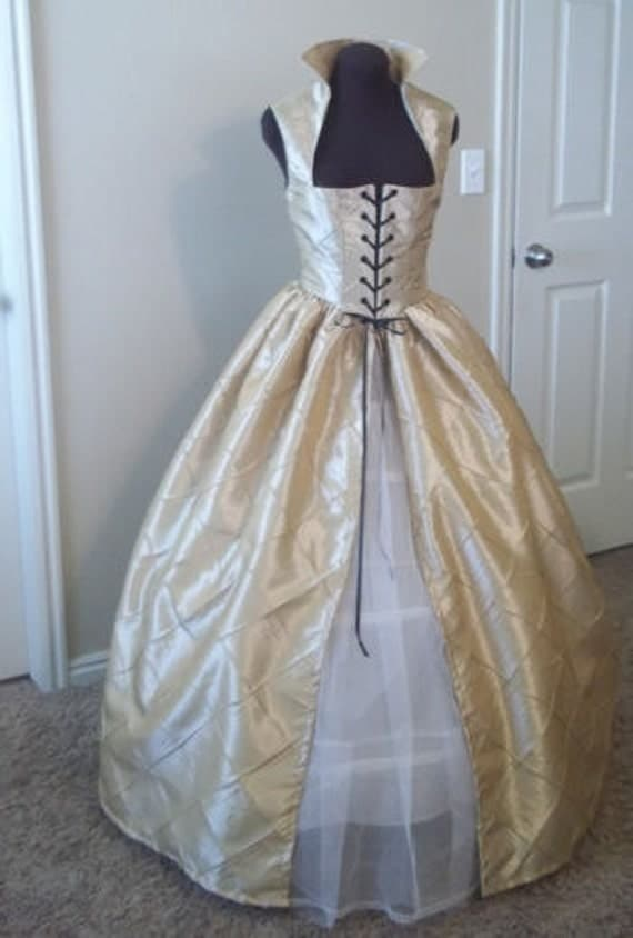 Champagne Almond Renaissance Over Dress or Gown  30 bust 26 waist Ready to Ship