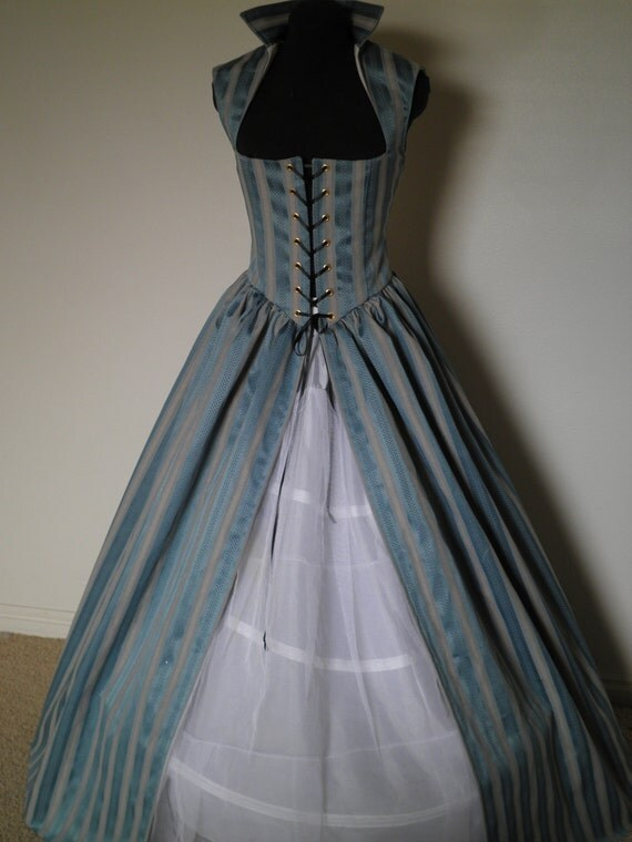 Blue and Ivory Stripe Renaissance Over Dress or Gown  Available and Ready to Ship