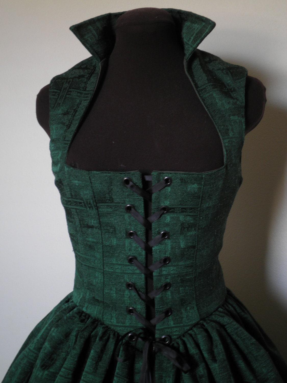 Emerald Green Celtic Irish Renaissance Over Gown Dress Bust 35