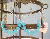 Pretty Silver Hoops Earrings with Bright Blue Crystal Stones, by Gemma's Designs