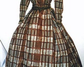 1860s Rust and Cream Plaid Silk Taffeta Dress