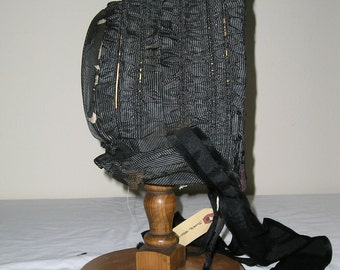 1860s Black and White Striped Silk Gathered Bonnet