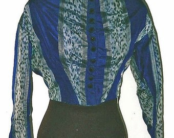 Civil War Royal Blue Warp Print Silk Bodice