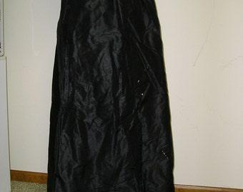 Black Silk Taffeta Edwardian Skirt