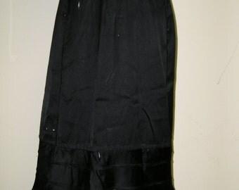 Black Silk Satin Victorian or Edwardian Overskirt