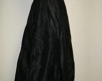 1913 Black Silk Taffeta Skirt