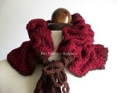 Bordeaux and Brown Pleated Knit Cowl