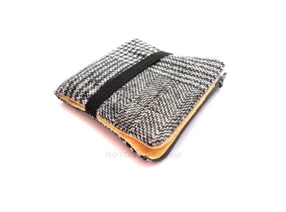 Mens Billfold Wallet in Black and Yellow Fabric