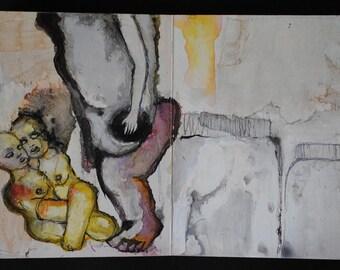 First Words, Altered childrens book, mixed media original artwork