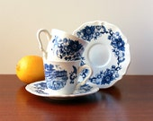 Vintage set of one cup and its saucer - Blue decor - Sarreguemines, France