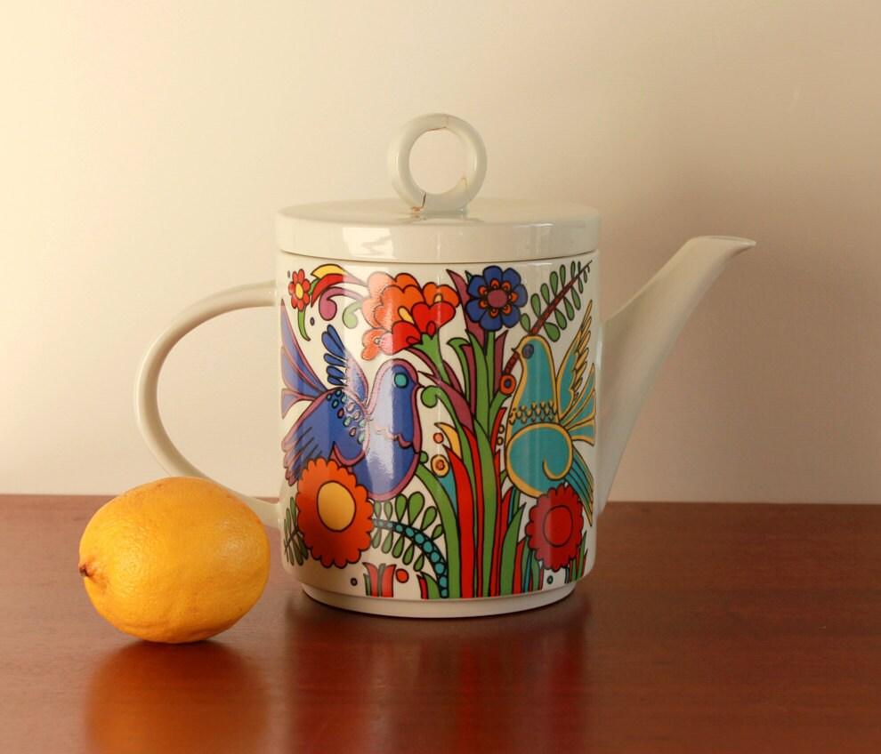 vintage acapulco teapot by villeroy boch 1970s. Black Bedroom Furniture Sets. Home Design Ideas