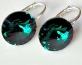 Sterling Silver Earrings made with Swarovski Elements Emerald 12mm Rivoli