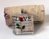 2001 Rose Love Letter US Postage Stamp Glass Tile Pendant Necklace