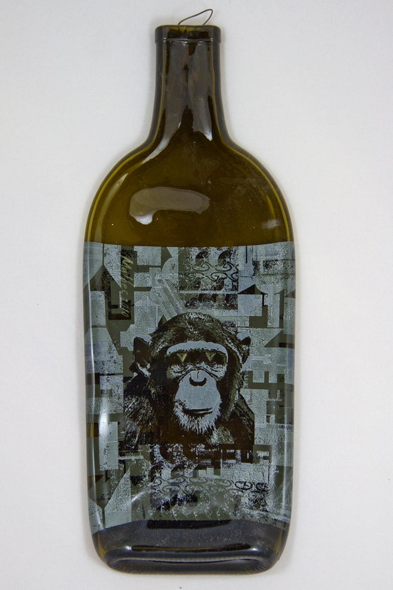 Recycled, flattened Infinite Monkey Theorem wine bottle decor, hanger attached