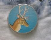Soviet DEER button- adorable big vintage pinback button / badge. Made in Russian USSR era 1970's