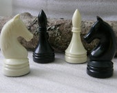 4 Soviet CHESS Pieces for your art or design. Vintage. Made in Russian USSR era 1970's. The Knights and the Bishops. Mixed media.