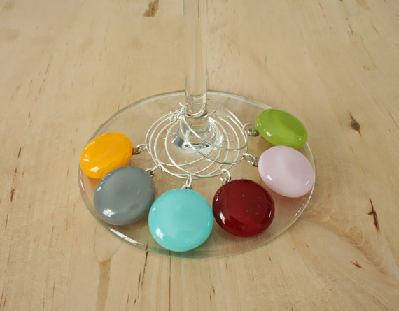 Colorful Wine Charms - set of 6 - GLASS