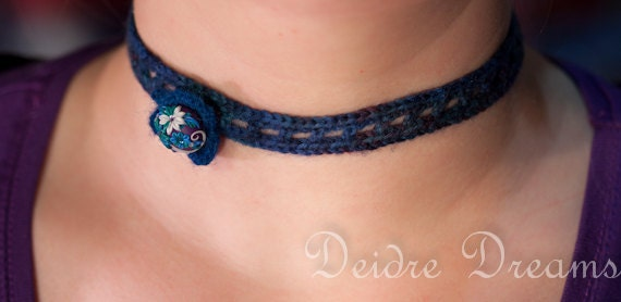 Crochet Choker - Hippie Hand Crocheted Choker - Polymer Clay Flower Button - Ocean Crochet - Yarn Jewelry - Fiber Jewelry