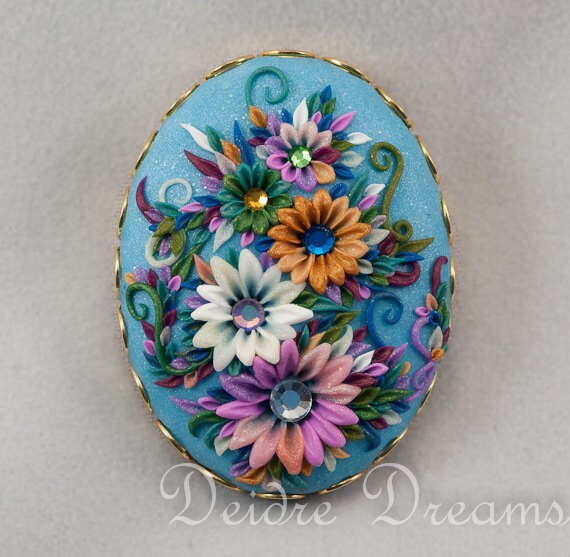 Marie Antoinette Flower Garden Brooch - Art Deco Brooch - Polymer Clay Embroidery Cameo - Polymer Clay Flowers - Vintage Look Flower Brooch