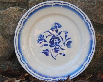 Gorgeous French Country Plate with Brittany - Blue Floral Motif by Badonviller in France