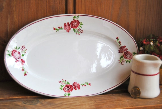 Vintage French Faience Floral Plate with hand-painted flowers