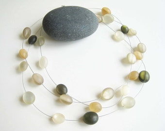 Vintage Frosted Lucite Floating Bead Necklace