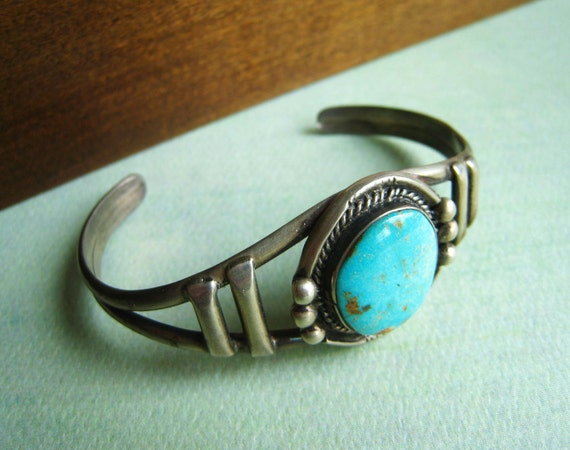 Vintage American Indian Turquoise and Silver Cuff Bracelet
