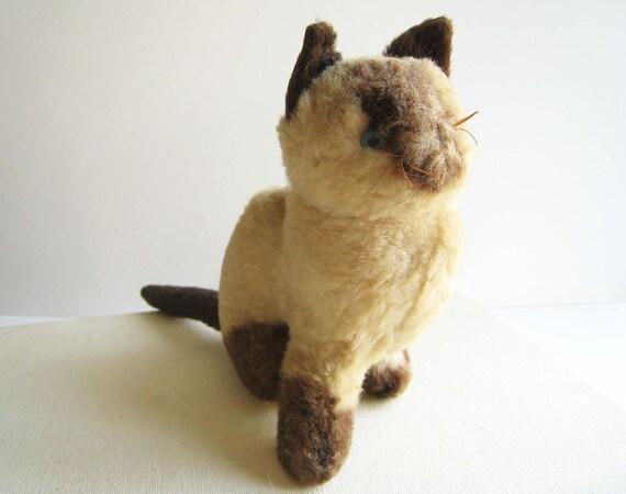 Vintage Plush Siamese Cat
