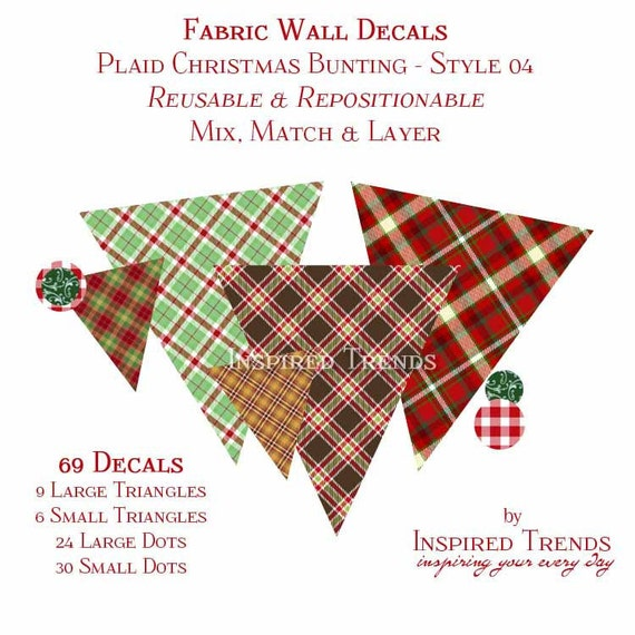 Reusable Fabric Wall Decal - Holiday Bunting in Plaid