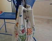 Upcycled Boho Flower And Leather Drawstring Bag