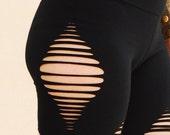 Ripped Black Leggings, Yoga wear, sexy black tights, Hippie Pants, Gypsy Leggings, Cut Out, Tribal Wear