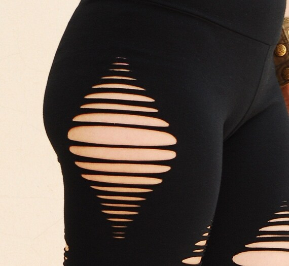 ripped black leggings yoga wear sexy black tights by molekula