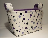 Fabric Basket Organizer Bin Storage Container-Purple Mixed Polka Dots w/Purple Patterned Interior