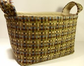 Fabric Basket Organizer Bin Storage Container-Olive/Brown/Tan/Blue Tweed with Light Tan Interior