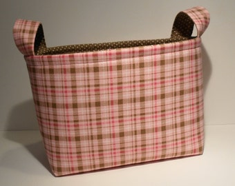 Fabric Srirage Basket Bin Organizer Storage Container-Pink/Brown Plaid with Brown and White Polka Dot Interior