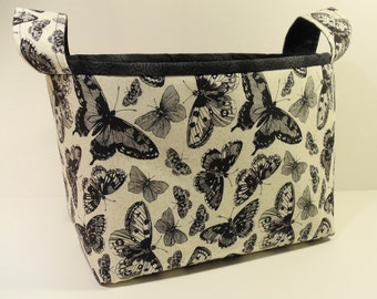 Fabric Storage Basket Organizer Bin Storage Container-Sketchbook Butterflies on Natural with Black Patterned Trim and Interior