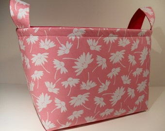 Reduced-Large Fabric Storage Basket Bin Organizer Storage Container-Daisy Silhouette on Pink with Bright Pink Interior