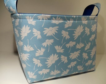 Reduced-Large Fabric storage Basket Bin Organizer Storage Container-Daisy Silhouette on Blue with Bright Blue Interior
