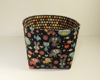 Mini Fabric Storage Basket Organizer Bin Storage Container-Max & Whiskers by Basic Grey for Moda