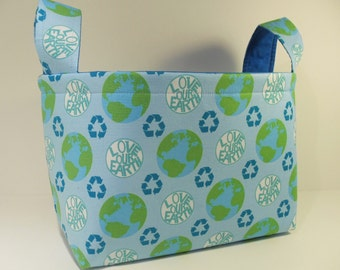 Fabric Basket Organizer Bin Storage Container-Love Our Earth Message on Light Blue with Bright Blue Interior