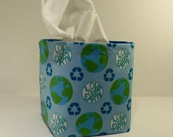Tissue Holder-Fabric Basket Organizer Bin Storage Container-Love Our Earth on Light Blue with Bright Blue Interior