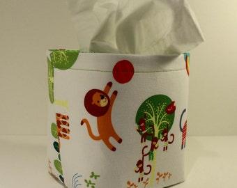 Tissue Holder-Fabric Basket Organizer Bin Storage Container-Jungle Gym w/Green Multi-Floral Print Interior