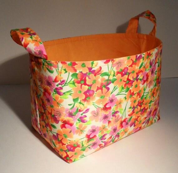 Fabric Basket Organizer Bin Storage Container-Orange Multi Floral