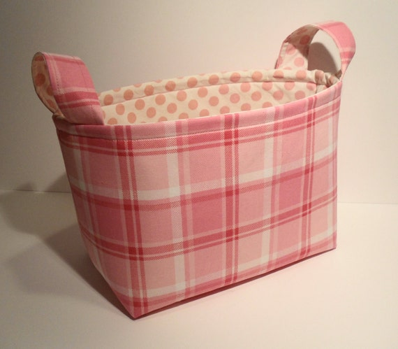 Fabric Basket Organizer Bin Storage Container-Pink Plaid with Pink Polka Dot Interior