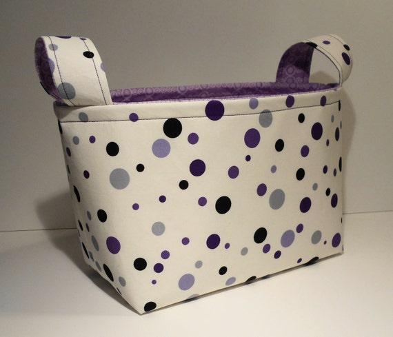 Fabric Basket Organizer Bin Storage Container-Purple Mixed Polka Dots w/Purple Patterned Interior