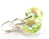 FREE SHIPPING, Green Spring, Swarovski Octagon Light Peridot sterling silver 925 dangle