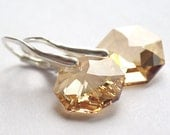 FREE SHIPPING, CIJ 20% off, Swarovski Octagon Golden Shadow sterling silver 925