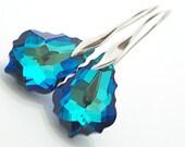 Bermuda Blue Earrings, Peacock Earrings, Wedding Jewelry, Swarovski Bermuda Blue 22mm, sterling silver 925