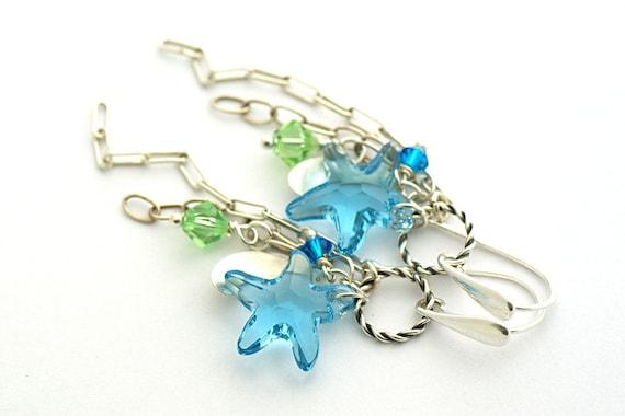 Starfish earrings, Summer earrings, Swarovski Crystal Starfish, long earrings, starling silver 925